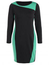 Sheath Plus Size Long Sleeve Color Block Business Dress