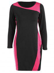 Sheath Plus Size Color Block Dress