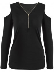 Cold Shoulder Zippered Slimming T-Shirt