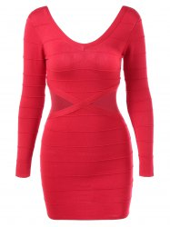 V Neck Open Back Bodycon Dress -