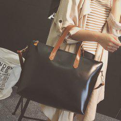 Colour Block PU Leather Stitching Tote Bag -