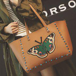 Rivets Butterfly Pattern Bead Shoulder Bag -