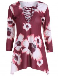Lace-Up Flower Print Dress -