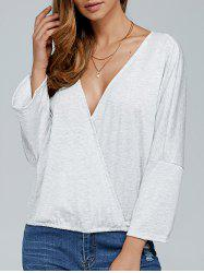 Long Sleeve Surplice Top -