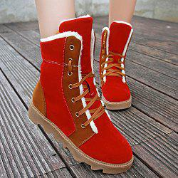 Flat Heel Colour Spliced Short Boots