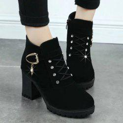 Cross Straps Rhinestones Buckle Ankle Boots -