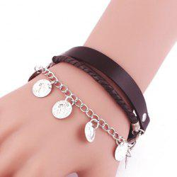 Faux Leather Layered Coin Tassel Bracelet -