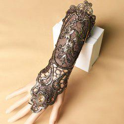 Floral Lace Retro Lace Up Glove Bracelet - DEEP BROWN