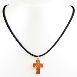 Faux Crystal Stone Healing Cross Pendant Necklace -