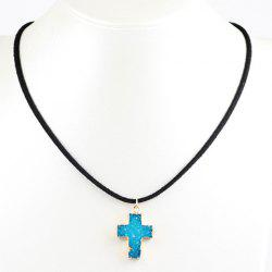 Faux Crystal Stone Cross Pendant Necklace - LAKE BLUE
