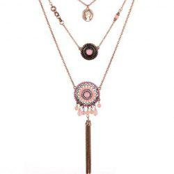 Layered Medallion Coin Pendant Necklace - SHALLOW PINK