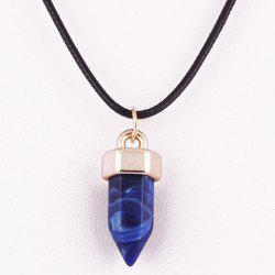 Natural Hexagon Stone Pendant Necklace - BLUE