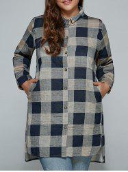 Plus Size Retro Plaid Linen Shirt