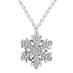 Polished Rhinestone Snowflake Pendant Necklace