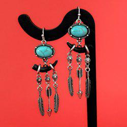 Faux Turquoise Ivory Feather Tassel Earrings -