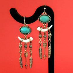 Faux Turquoise Ivory Feather Tassel Earrings