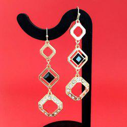 Rhinestone Geometry Hollowed Dangle Earrings