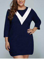Plus Size V Shape Block Knit Dress -