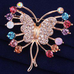 Polished Filigree Rhinestone Butterfly Brooch