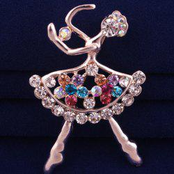 Filigree Openwork Rhinestone Dancing Girl Brooch - ROSE GOLD