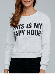 Long Sleeve Letter Print Pullover Sweatshirt -