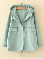 Plus Size Hooded Pocket Design Trench Coat - LIGHT GREEN