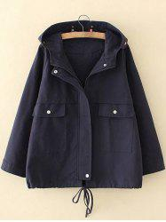 Plus Size Hooded Pocket Design Trench Coat - PURPLISH BLUE