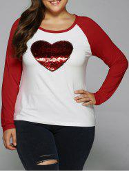 Sequined Heart Raglan Sleeve T-Shirt