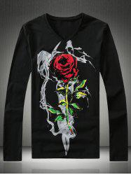 Plus Size 3D Rose Print V-Neck Long Sleeve T-Shirt