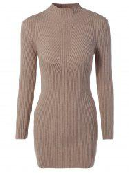 High Neck Bodycon Sweater Dress -