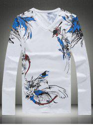 Plus Size Bird and Floral Print V-Neck Long Sleeve T-Shirt - WHITE 5XL