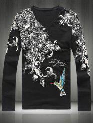Plus Size Bird and Florals Print V-Neck Long Sleeve T-Shirt