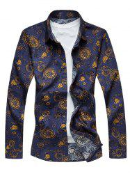 Plus Size Pocket Watch Print Long Sleeve Shirt