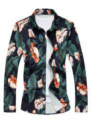 Plus Size 3D Flower Print Long Sleeve Shirt