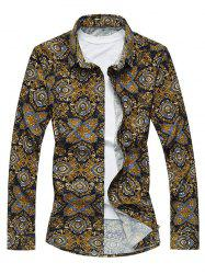 Plus Size Vintage Florals Print Long Sleeve Shirt - COLORMIX