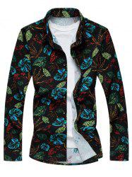Plus Size 3D Colorful Leaves Print Long Sleeve Shirt - COLORMIX 6XL
