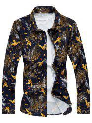 Plus Size 3D Birds and Leaves Print Long Sleeve Shirt -