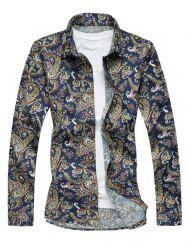 Plus Size 3D Vintage Paisley Print Long Sleeve Shirt - COLORMIX