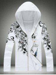 Plus Size Hooded Bird and Floral Print Zip-Up Hoodie -