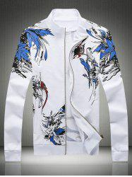 Plus Size Hooded Birds and Florals Print Zip-Up Hoodie -