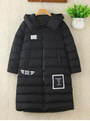 Letter Applique Pompon Design Puffer Jacket -