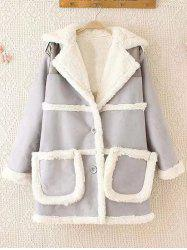 Fleece Trim Spliced Chamois Coat