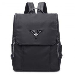 Métal Zip Nylon Backpack - Noir