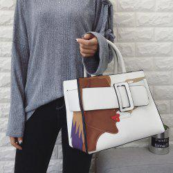 PU Leather Color Spliced Stitching Tote Bag