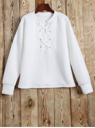Lace Up Sweatshirt - WHITE L