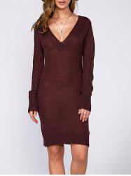 Long Sleeve Textured Fuzzy Knit Dress - WINE RED XL