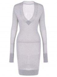 Long Sleeve Textured Fuzzy Knit Dress