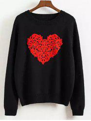Long Sleeve Heart Pattern Pullover Sweater -