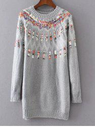 Long Floral Pullover Knit Sweater -
