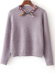 Bowknot Design Pullover Knit Sweater -